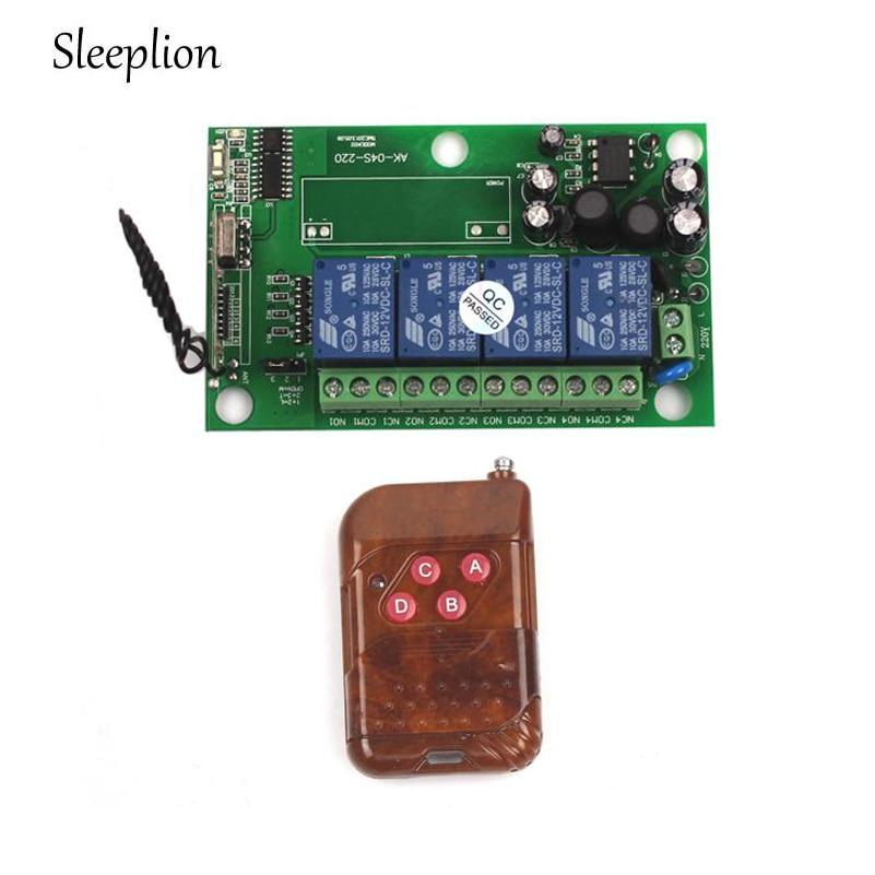 Sleeplion 85v~250V 110V 220V 230V 4CH RF Wireless Remote Control Relay Switch Security System Garage Doors Rolling Gate 4ch rf wireless remote control relay switch security system1receiver
