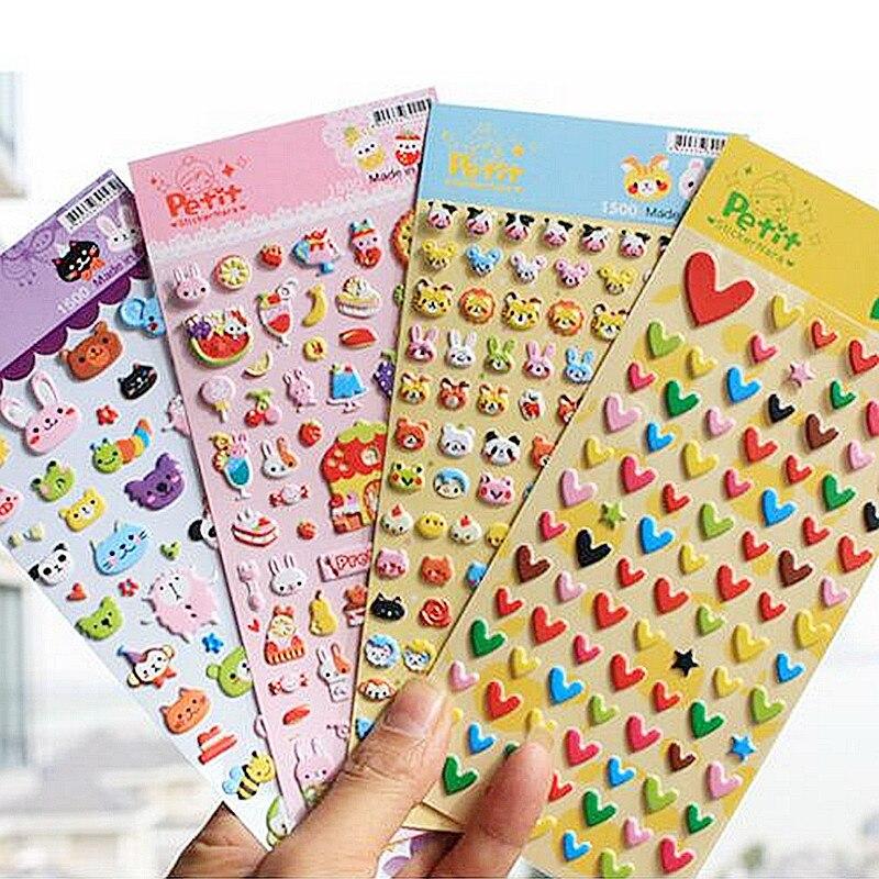 Cute Cartoon DIY 3D Puffy Bubble Sticker Animals Love Heart Shape Stickers For Kids Children Decorative Album Diary Scrapbooking