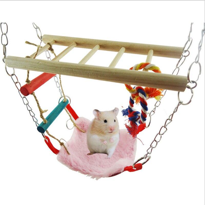 Papegaai Vogel Speelgoed Opgeschort Kooien Nest Shed Swing Slaapkamer Hamster Eekhoorn Hangmat Hout Klimmen Ladder Huisdier Zitstokken Hoge Veiligheid