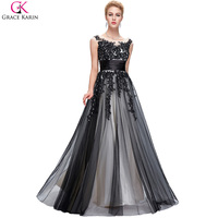 Grace Karin Sexy Black Long Evening Dress 2016 Applique Mother Of The Bride Dresses Long Party