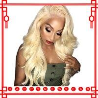 613 блондинка Синтетические волосы на кружеве парик 360 Синтетические волосы на кружеве al парик Полный конец объемная волна Мёд блондинка Цве