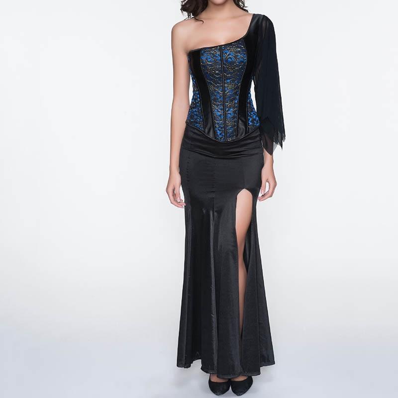 Blue&Black One Shoulder Sleeve Steampunk   Corsets   And   Bustiers   Sexy Gothic Dresses Burlesque   Corset   Skirt Dress Korsett For Women