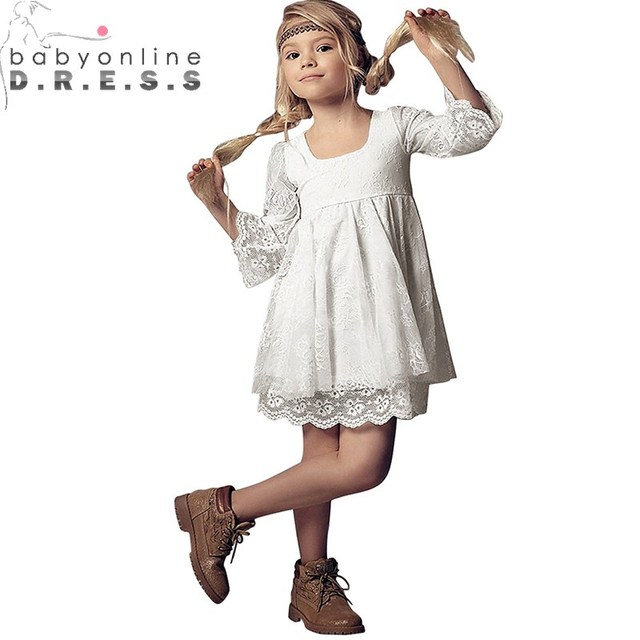 037169b09f420 Babyonlinedress Real Photo A Line Long Sleeve Lace Flower Girl Dress For  Weddings Cute Ivory kids Party Gowns With Appliques
