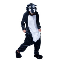 Adults Animal Cosplay Kigurumi Grey Wolf Costume Mens Onesie Pajamas For Halloween Carnival Masquerade Party
