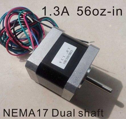 2pcs/lot Nema17 double shaft stepper motor 1.3A 62.5 oz. In body length 40 mm CE Rohs stepper motor