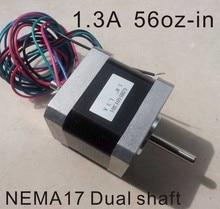 2pcs/lot Nema17 double shaft stepper motor 1.3A 62.5 oz. In body length 40 mm CE Rohs stepper motor цена и фото