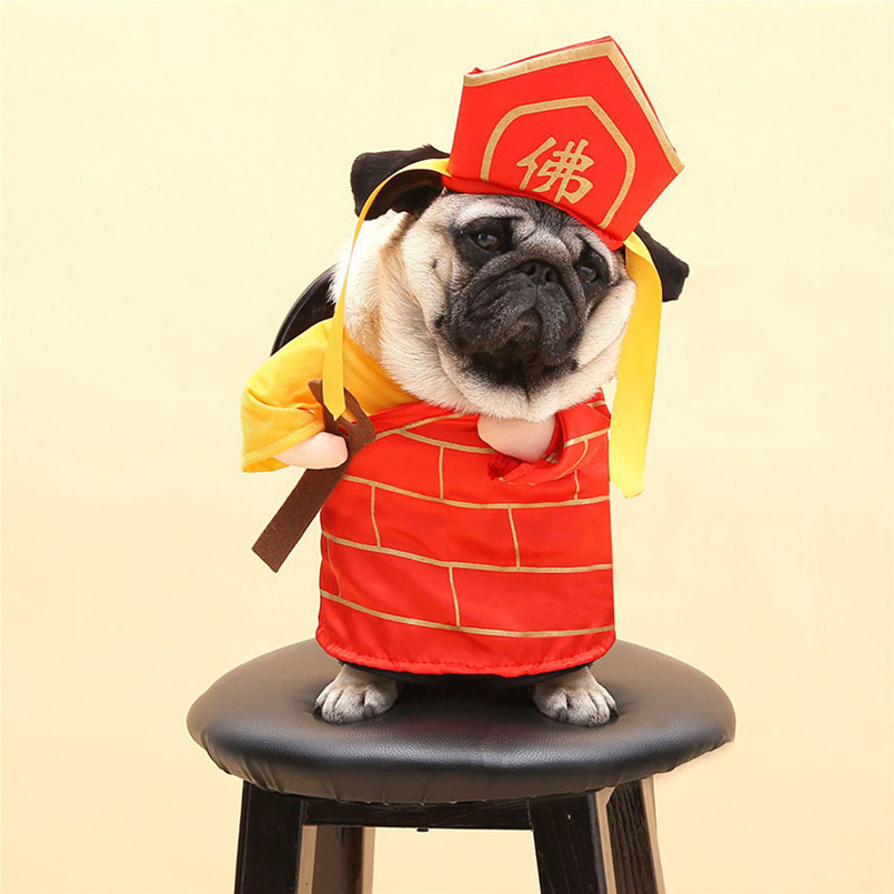 New Funny Dog Cat Costumes Buddha Tang Monk Cosplay Suit Pet Apparel Gifts Halloween Clothes For Puppy Costume Clothing For Dogs