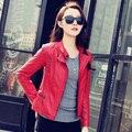 2015 Весной Мотоцикл Кожаное Пальто Женский Верхняя Одежда Короткие Кожаные ПУ Куртка Faux Женщин Черный