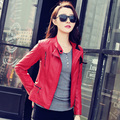 2015 Spring Motorcycle Leather Coat Female Outerwear Short PU Leather Jacket Women Faux Black