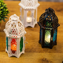 PINNY European Classical Iron Candlestick Metal Multicolored Glass Candle Holder Lantern Home Decoration Accessories