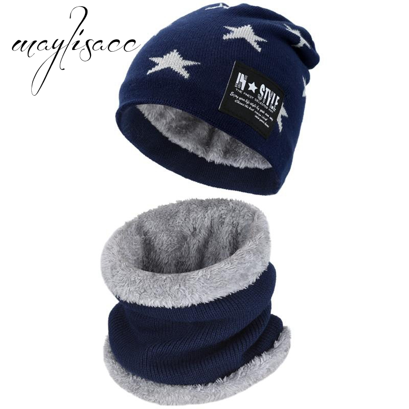 Maylisacc Children Winter Warm Knitted Hat Cap with Scarves Thickened Wool for 6-10 Years Old Boys Windproof Outdoor Sports