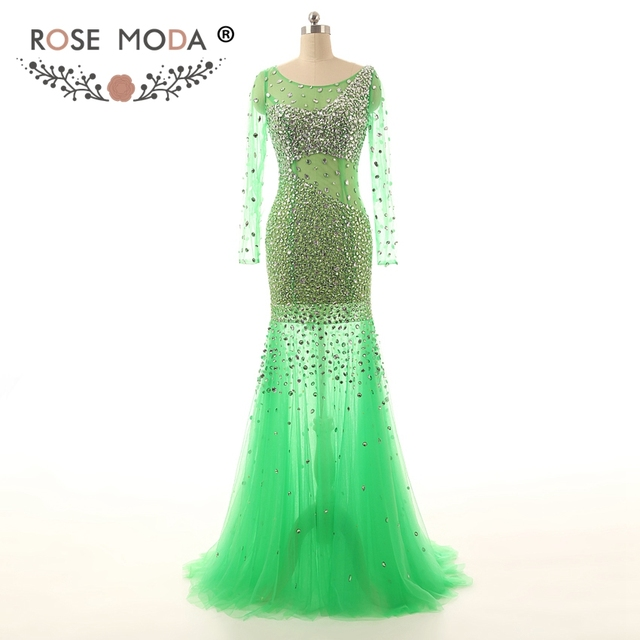 Rose Moda Langen Ärmeln Grüne Meerjungfrau Abendkleid Bodenlangen ...