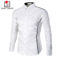 John S Bakery2017 Men Casual 100 Cotton Men Shirt Solid For Turn Down Collar Mens Shirts