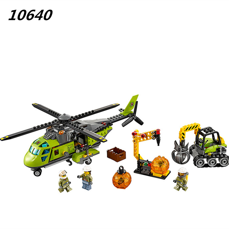 10640 City Series Volcano Supply Helicopter Geological Prospecting Building Block DIY Brick Toys Gift For Children 60123 decool 3114 city creator 3in1 vehicle transporter building block 264pcs diy educational toys for children compatible legoe