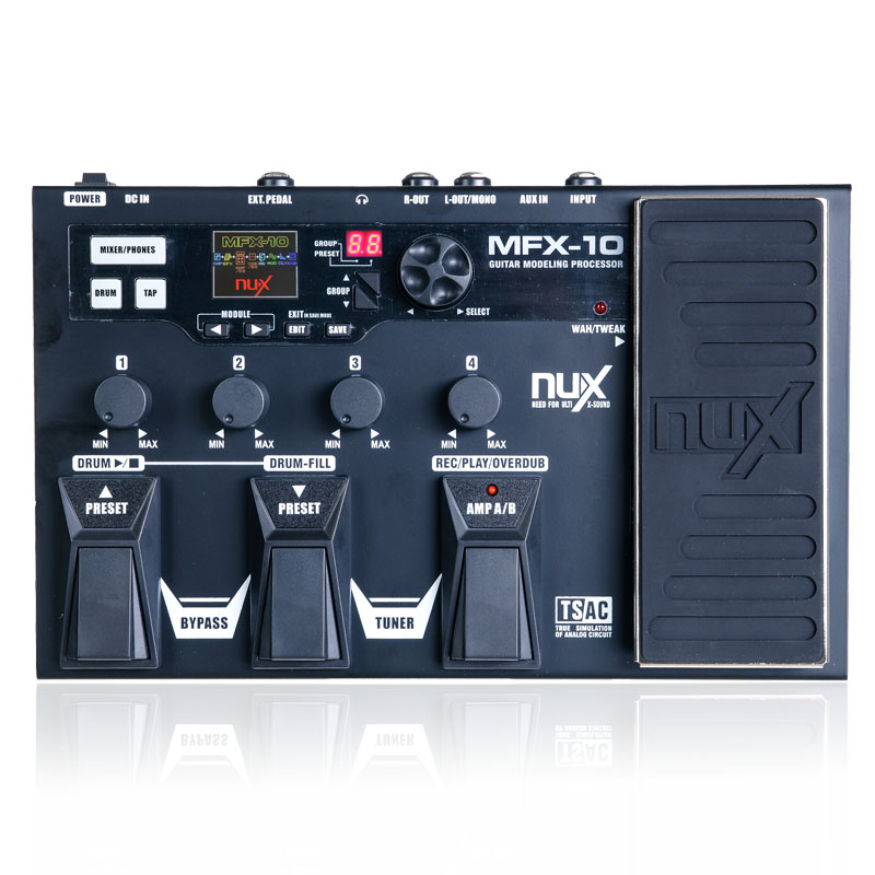 NUX MFX-10 Multi-Effects Processor Guitar Pedal, 55 Effect Types, AUX-in, LCD DisplayDrum Recorder 55 Effect 72 Preset