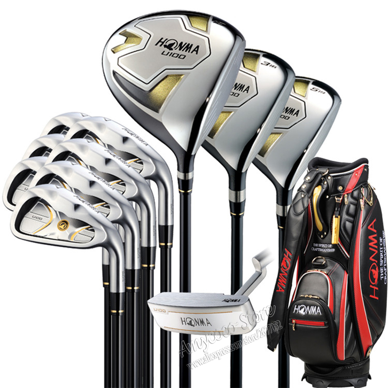 New HONMA U100 complete clubs set Driver+3/5 fairway wood+irons+putter Graphite Golf shaft Headcover Golf clubs Free shipping new mens cooyute golf clubs honma s 05 4star golf wood complete set driver with fairway woods graphite golf shaft free shipping