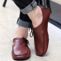 brogue oxfords round toe genuine leather flats hollow-out  lace up casual shoes 2016 fashion comfort spring summer men shoes