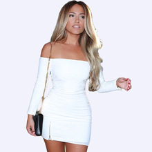 Spring New Elegant Women Fashion Slim Dress Long Sleeve Off Shoulder Strapless Sexy Dress Slash Neck Mini Dresses womens dress new a0rrival 2017 sexy long butterfly sleeve off shoulder strapless black knitted mini dress women s clothing sd039