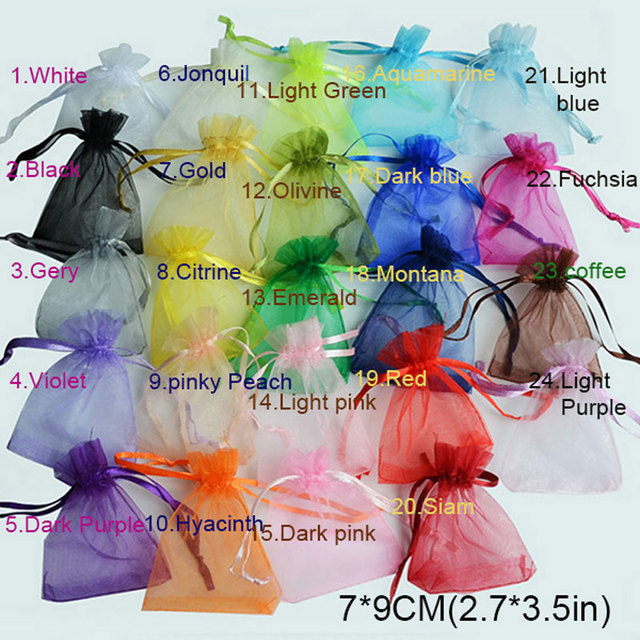 200pcs /bag , Selection 24 Colors Jewelry bag 7x9cm organza jewelry packaging display & Jewelry Pouches, free shipping