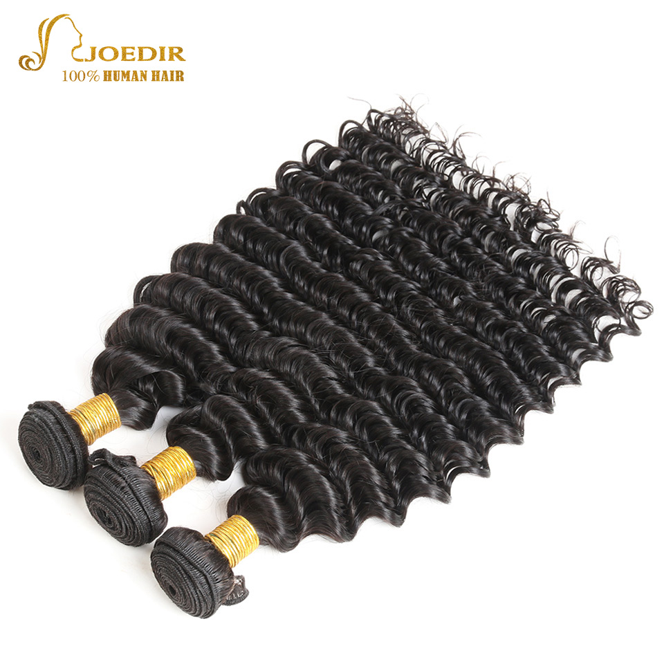 Indian Deep Wave Hair Bundles 100% Human Hair Bundles Deals Non Remy Hair Extention 3 PC Natural Black Free Shipping Joedir Hair