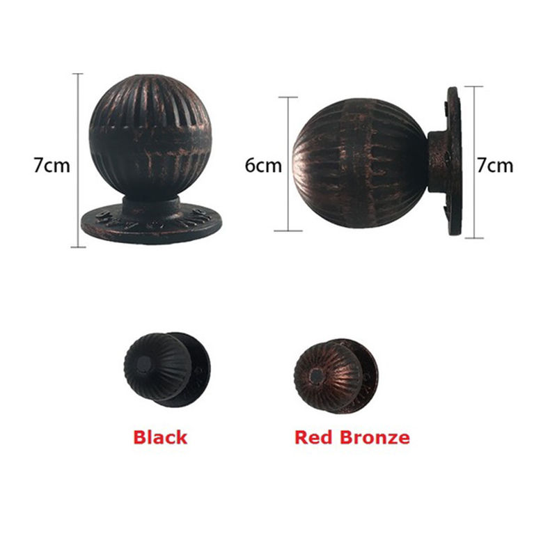 Round Ball Vintage Iron Wooden Door Knob Pull Handle Entry Gate GardenRound Ball Vintage Iron Wooden Door Knob Pull Handle Entry Gate Garden