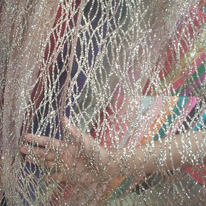 360 cm sztuki francuskiej krzywa koronki cekiny tkaniny netto szampana złota błyszczące sukienka na imprezę siatki tkaniny do szycia diy akcesoria w Materiał od Dom i ogród na  Grupa 1