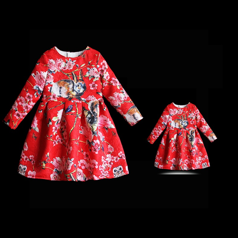 Autumn children warm flano lining dress mother and daughter clothes women girl family matching look outfit mom girl Winter dress children clothing mother and daughter dress xl xxxl lady women infant kids mom girls dress with dancing rabbit beautiful skirt