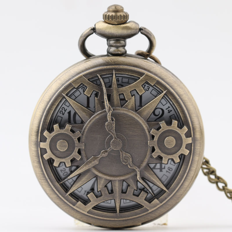 Pocket  Fob Watch Vintage Retro Bronze Hollow Gear Movement Quartz Pocket Watch Pendant  Pocket Watches for Men/Women