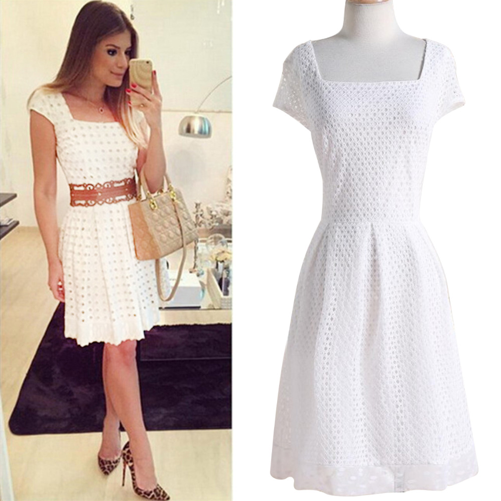 sweet women white color hollow out short sleeve square collar casual wedding mini dress evening party