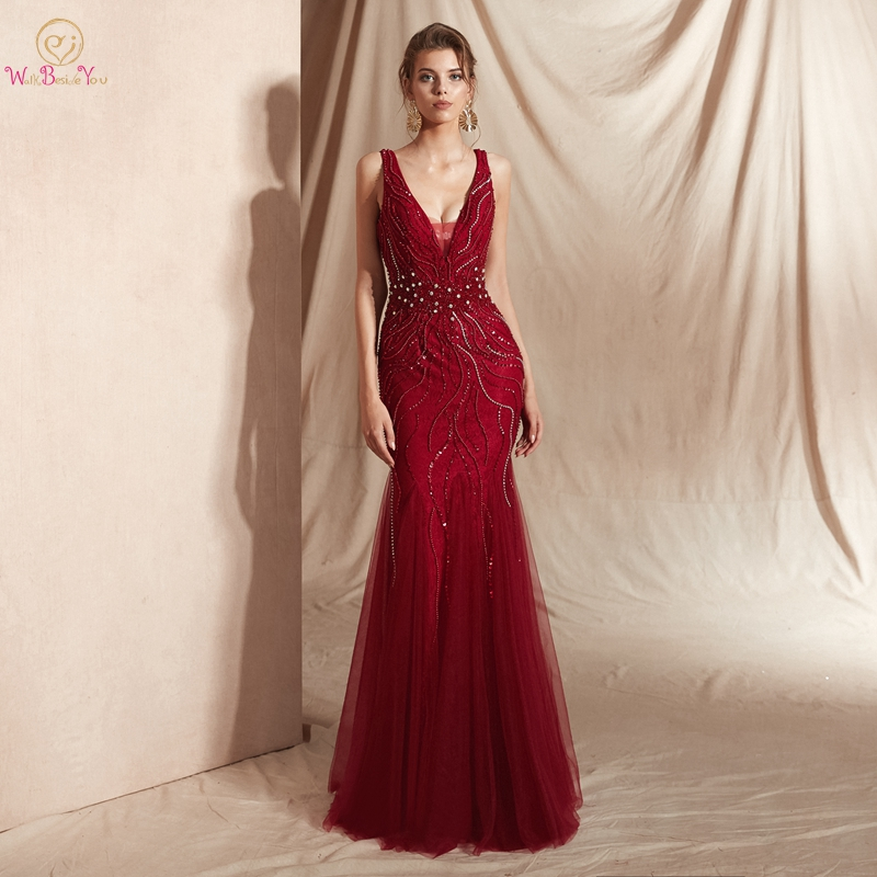 Wine Red   Prom     Dresses   Luxury Beading Champagne Mermaid Sleeveless Lace V Neck Backless Long Floor Length Elegant Evening Gowns