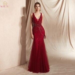Image 1 - Şarap kırmızı balo kıyafetleri lüks boncuk şampanya Mermaid kolsuz dantel V boyun Backless uzun kat uzunluk zarif abiye giyim