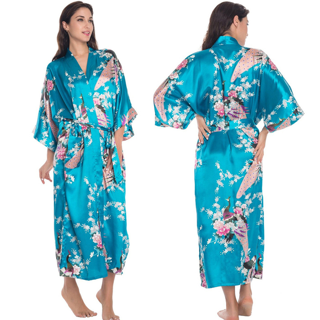 9d51c33acf US $11.75 16% OFF|3XL Big Size Satin Robes Women Robe Sexy Plus Dressing  Gown Silk Peignoir Batas De Seda Pink Satin Robe Floral Satin Robe Femme-in  ...