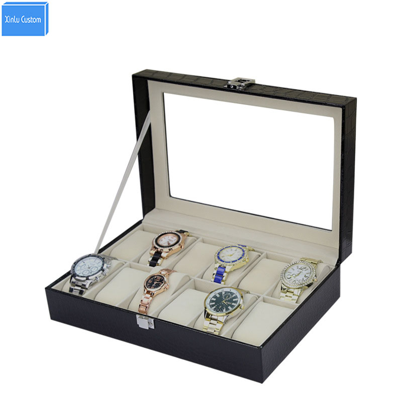 Retail/Wholesale Leather Watch Box 12 Slots Grids for Gift Luxury Brand Boxes Watches Luxury Storage Watches Cases Para Relogio jinbei em 35x140 grids soft box