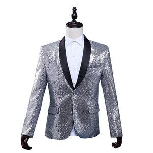 Image 4 - PYJTRL Mâle Slim Fit Veste De Mode Or Royal Bleu Rouge Silver Sequin Blazer Hommes Stage Porter Blazer Designs Costumes Pour chanteurs