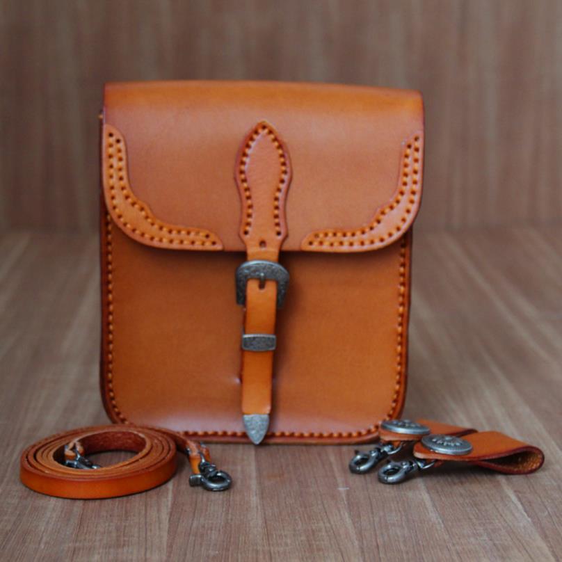 100% sacs faits à la main en cuir de vache véritable pour hommes boucles sac à bandoulière marron petits rabats taille sacs avec ceinture bolso hombre maletin