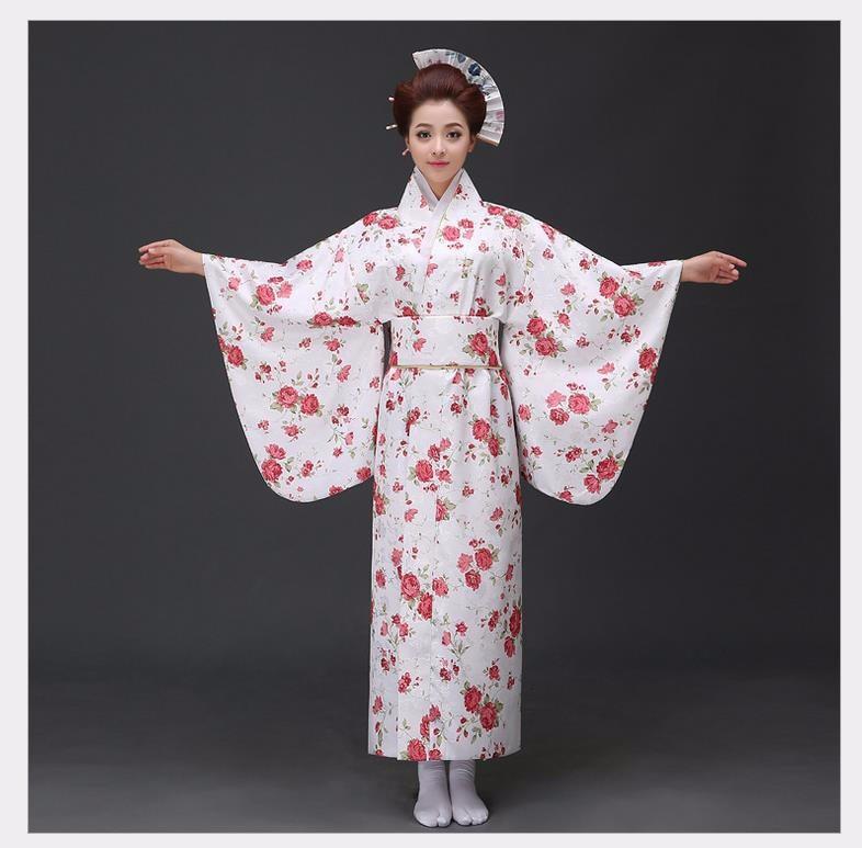 New Arrival Japanese Women Original Yukata Dress Traditional Kimono With Obi Performance Dance Costumes One Size