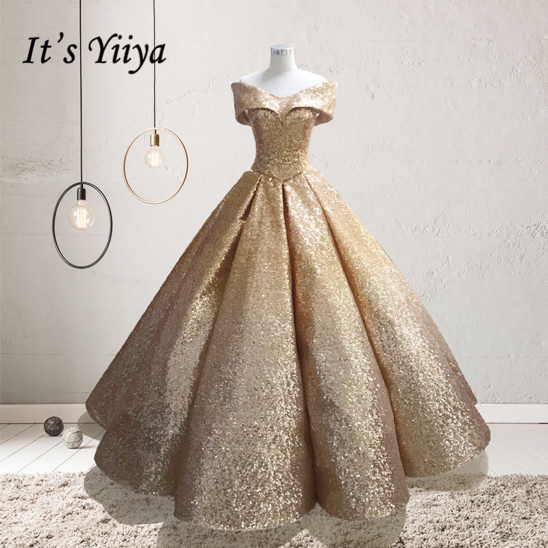 It's YiiYa New Gold And Silver Gradual Color Wedding Dresses Court Dreaming Bling Sequined Wedding Gown De Novia H001