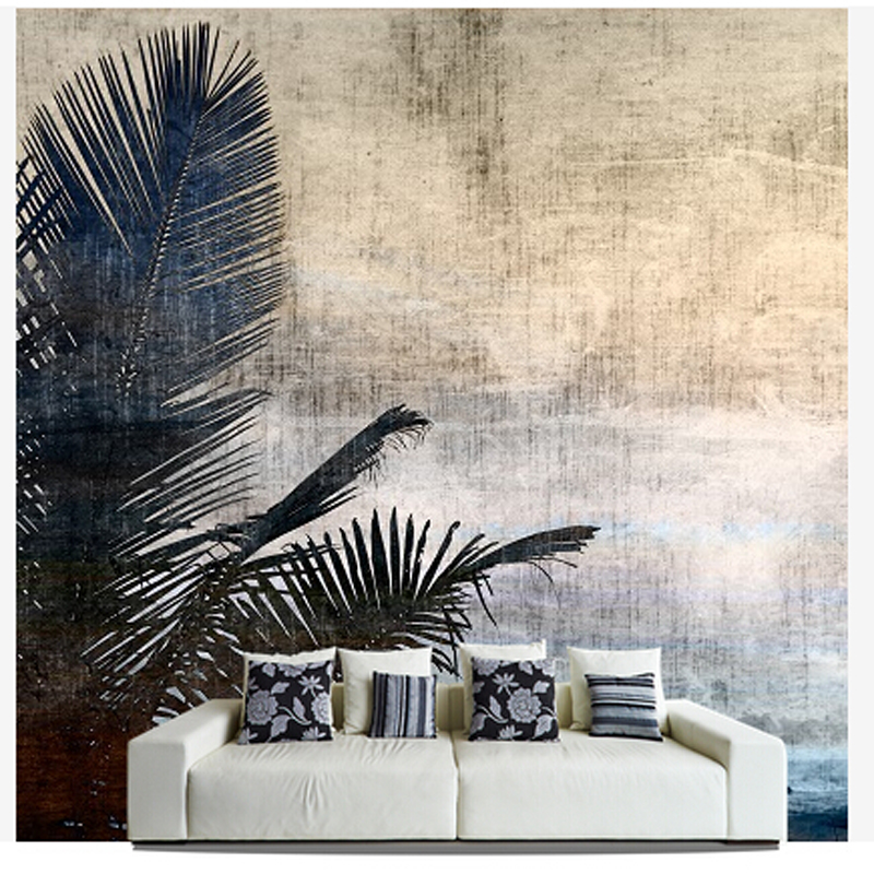 Custom papel DE parede para sala, Palm Tree murals for bedroom living room TV wall vinyl waterproof which wallpaper check leather designs waterproof 3d stereoscopic wallpaper for bar wall papel de parede para sala