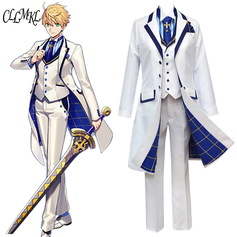 Fate Grand Orde  FGO Saber King Arthur Cosplay Costume Outfit Pendragon White Rose King of Knights Cosplay-in Anime Costumes from Novelty & Special Use