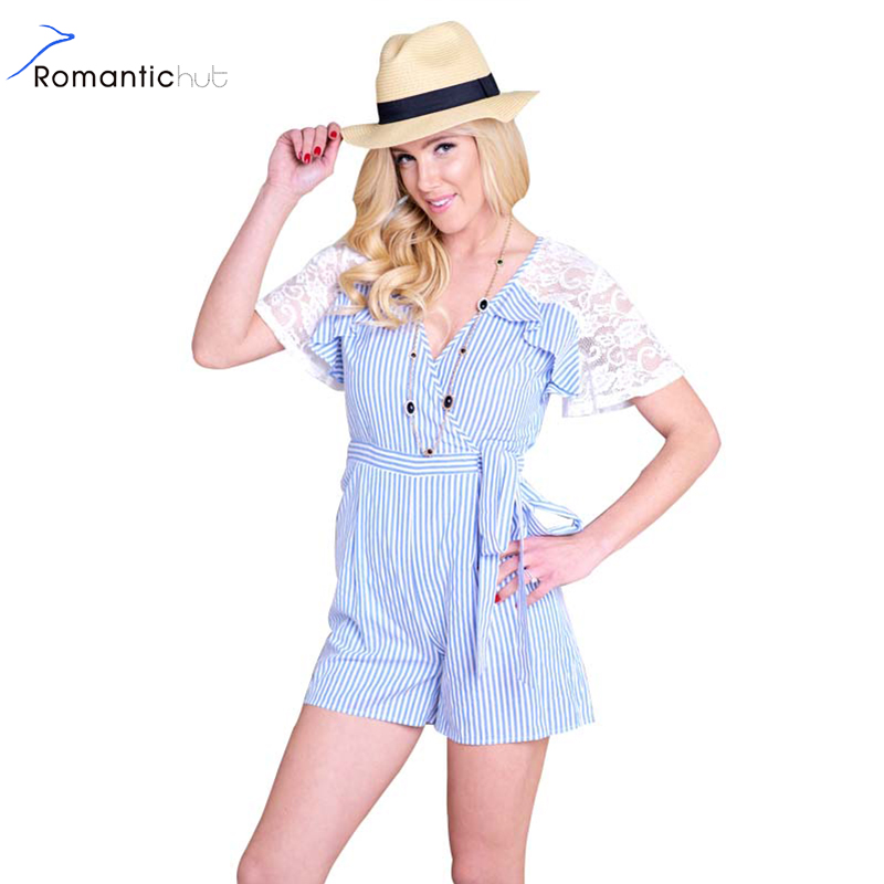 Romantichut Double V Neck Women Summer Fashion Stripe Playsuit Ladies Casual Lace Patchwork Bow Tied Wrap Short Jumpsuit Romper