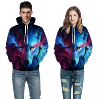 Adult Fashion Casual Men's and Women's Fall Winter Sweater 3D Digital Print Hood Lovers' Hoodie Wolf Sweatshirt Plus Size S 3XL