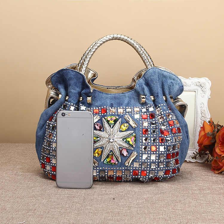 f557c2ffb4 ... Woman Denim Handbags Bags Luxury Rhinestone Shoulder Bags Women s Small Totes  Bags Jean Bolsas Femininas For