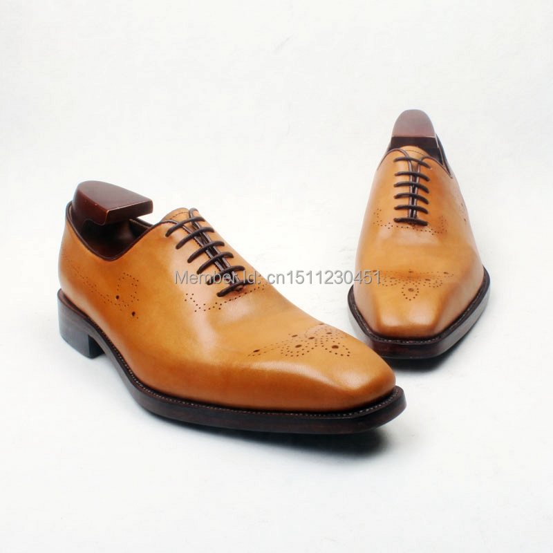 obbilly Handmade Genuine Calf Leather Upper/outsole/Insole Dress Brown Color Goodyear welted Craft Square toe Shoe No.ox651 obbilly handmade genuine leather upper outsole insole navy color goodyear craft square toe men s classic shoe no ox633