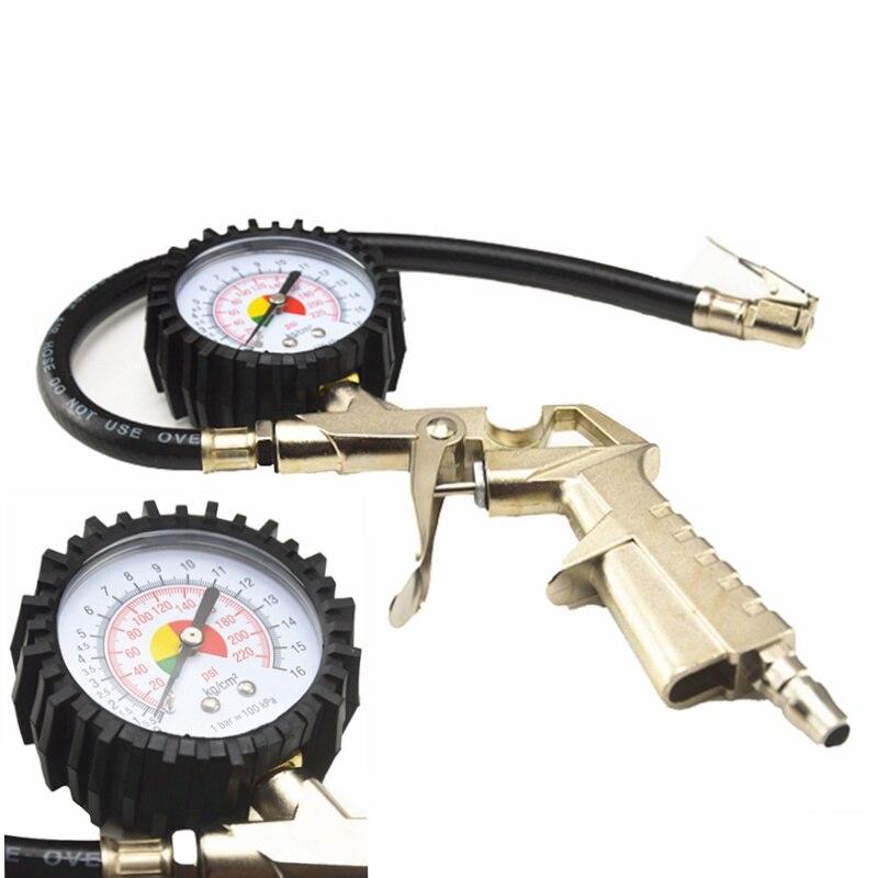 Universal Auto Car Truck Motorcycle Pistol Flexible Hose 220 PSI Tire Pressure Gauge Air Inflator Gun