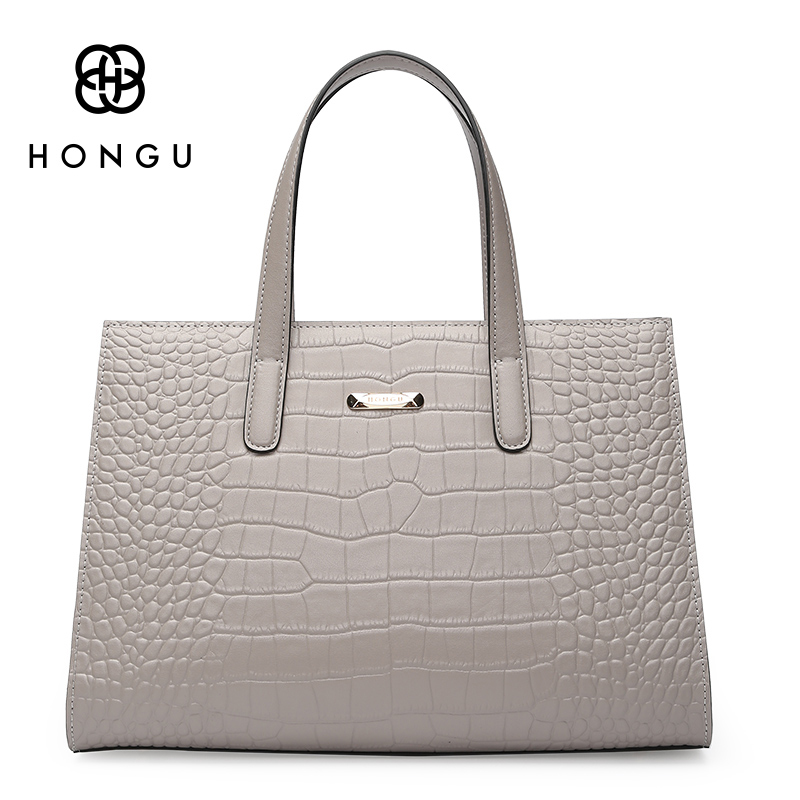 HONGU Fashion Natural Crocodile Genuine Leather Bag Women Handbags Shoulder Bag Tote Ladies Embossed Boston Alligator Bag Simple st luce светильник настенно потолочный st luce ovale sl546 501 01