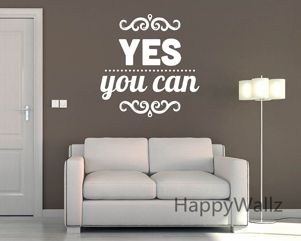 Yes You Can Motivational Quote Wall Sticker DIY Decorative Inspirational Quotes Office Wall Decal Custom Colors Quote Q93