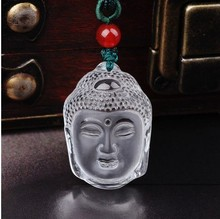 The new natural crystal white crystal Sakyamuni pendant genuine Buddha head hanging fall safe and secure pendant