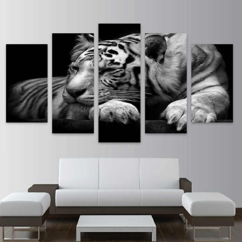 2017 modern 5panels art home wall decor tigers lions for Murales para recamaras matrimoniales