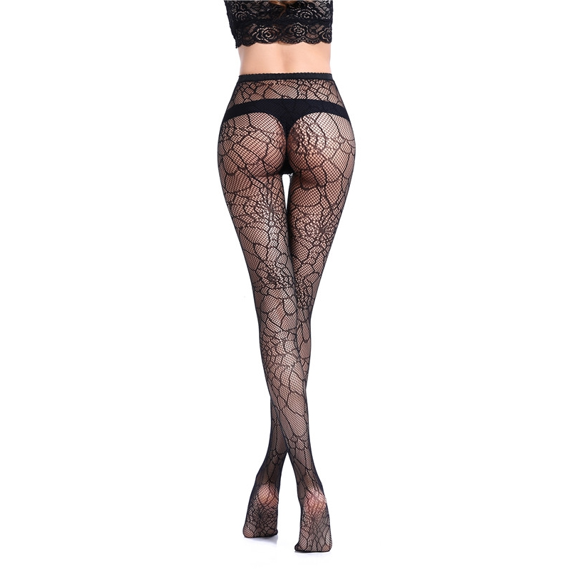 Sexy Womens Lingerie Black Jacquard Lace Belt Thigh Mesh Elastic Stockings Female Spider web pantyhose fishnet stockings WK01