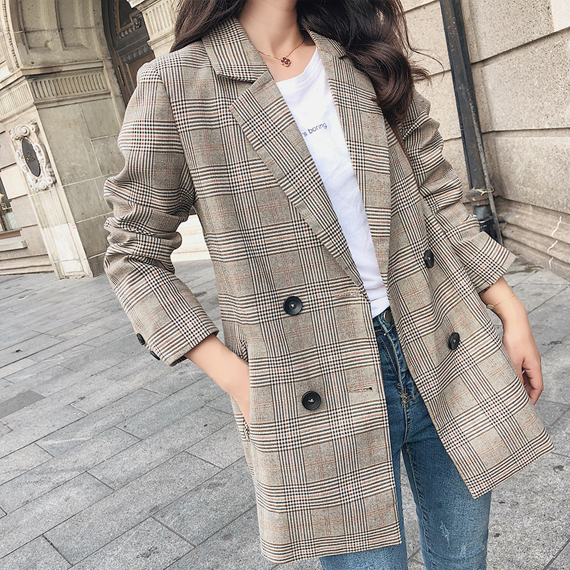 Good Autumn Winter Retro Boyfriend Check Plaid Blazer Woman Notched Pocket Double Breasted Suit Casual Jacket Loose Coat Outerwear